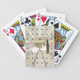 Gold Silver Graduation Cap Diploma, Stars, Lines Bicycle Playing Cards