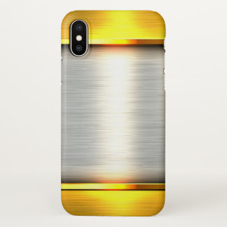 gold silver metal print iPhone x case