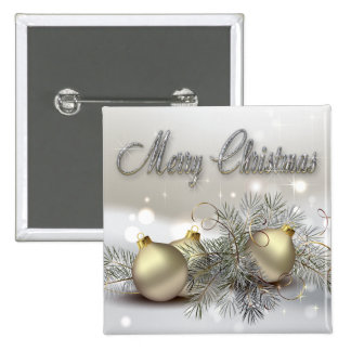 Gold & Silver Shimmer Christmas Ornaments 15 Cm Square Badge