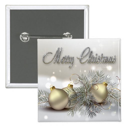 Gold & Silver Shimmer Christmas Ornaments Buttons