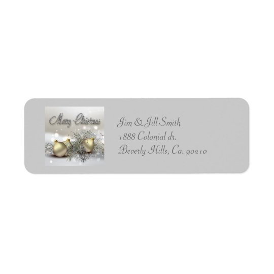 Gold & Silver Shimmer Christmas Ornaments Return Address Label