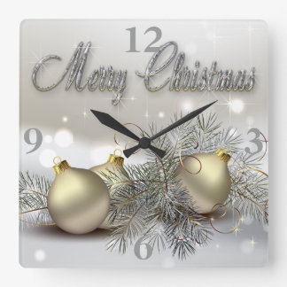 Gold & Silver Shimmer Christmas Ornaments Square Wall Clock