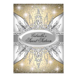 """Gold & Silver Sparkle Diamond Sweet 16 Invite 4.5"""" X 6.25"""" Invitation Card"""