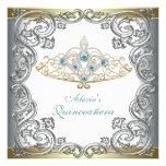 Gold Silver Teal Tiara Quinceanera Custom Invite