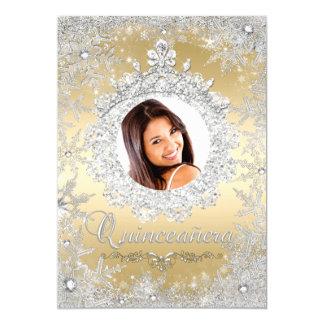 "Gold Silver Tiara Snowflake Sparkle Quinceanera 5"" X 7"" Invitation Card"