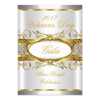Gold Silver White and Gold Plaque Party Card