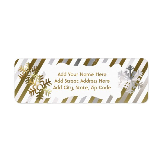 Gold, Silver, White Stripe Return Address Labels