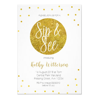 Gold sip and see Invitation