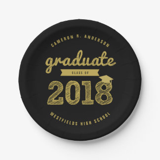 Gold Sketch Class Of 2018 Grad Party Paper Plate
