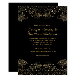Gold Sketched Flowers on Black Wedding Invitations