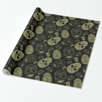 Gold Skulls Wrapping Paper