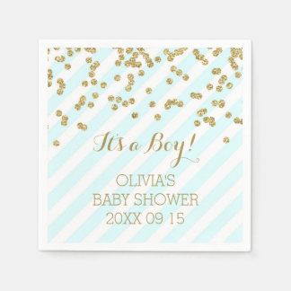 Gold Sky Blue Confetti Stripes Baby Shower Disposable Serviettes