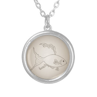 Gold small fish silver plated necklace