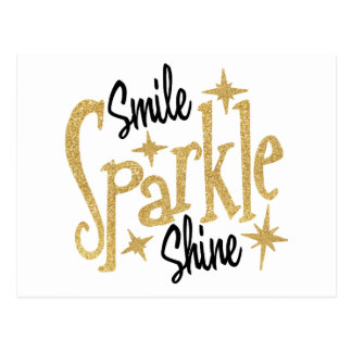 Gold Smile Sparkle Shine Positive Inspiration Postcard