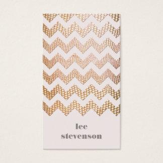 Gold Snake Skin Zig Zag Pattern Pink Business Card