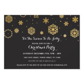 Gold Snow Christmas Party Xmas Holidays Invite