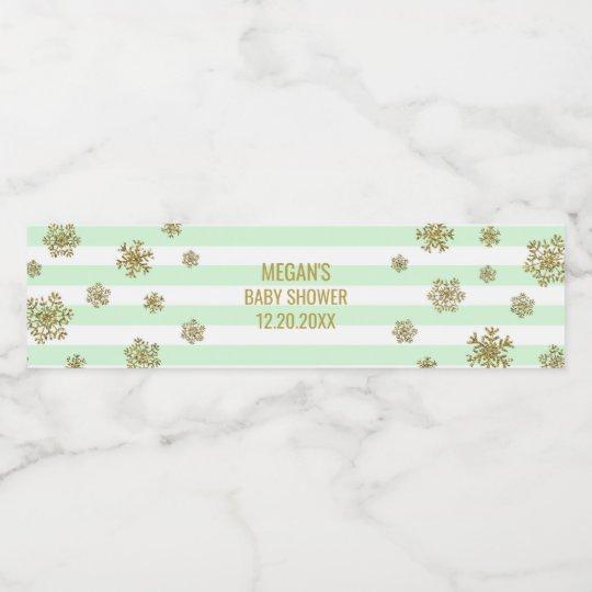 Gold Snow Mint Stripes Winter Baby Shower Water Bottle Label