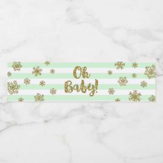 Gold Snow Mint Stripes Winter Baby Shower Water Bottle Label