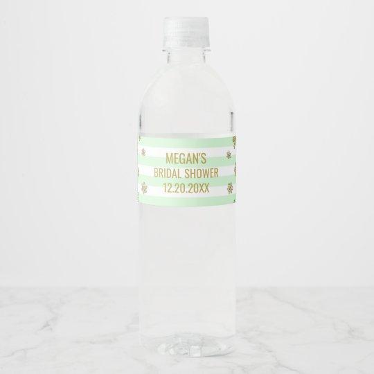Gold Snow Mint Stripes Winter Bridal Shower Water Bottle Label