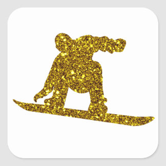 Gold Snowboard Sticker