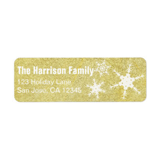 Gold Snowflake Address Label