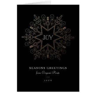 Gold Snowflake Corporate Holiday Greeting Card