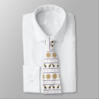 Gold Snowflake Deer Nordic Pattern Tie