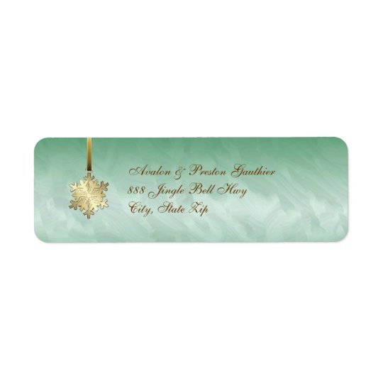 Gold Snowflake Green  Holiday Address Labels