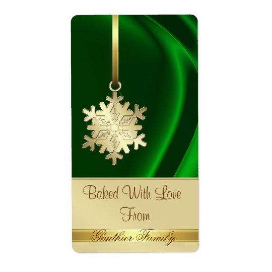 Gold Snowflake Green Silk Holiday Baking Label