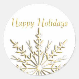 Gold Snowflake Happy Holidays Envelope Seals Round Sticker