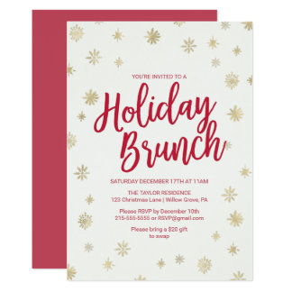 Gold Snowflake Holiday Brunch Card