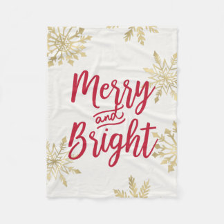 Gold Snowflake Merry and Bright Christmas Fleece Blanket