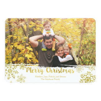 Gold Snowflake Merry Christmas Holiday Photo Card