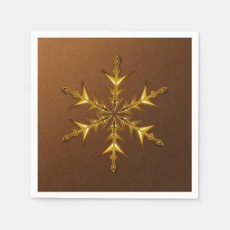 Gold Snowflake on Brushed Bronze Paper Napkins