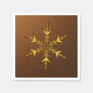 Gold Snowflake on Brushed Bronze Paper Napkins Disposable Serviette