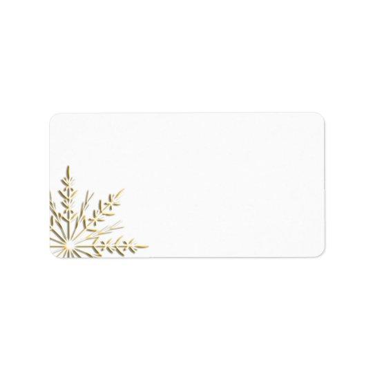 Gold Snowflake on White Address Label