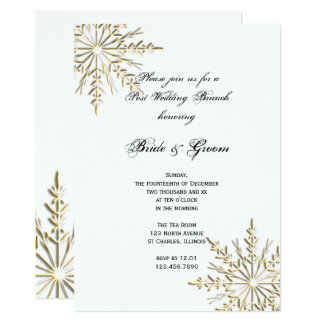 Gold Snowflake on White Winter Post Wedding Brunch Card