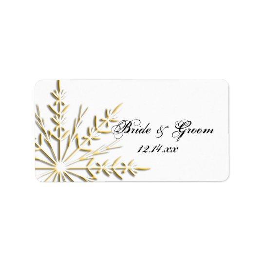 Gold Snowflake on White Winter Wedding Favour Tag
