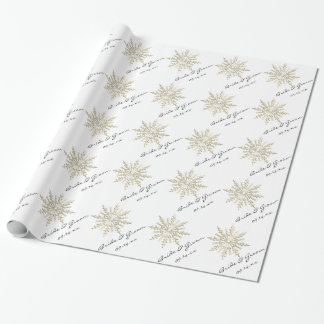 Gold Snowflake on White Winter Wedding Wrapping Paper