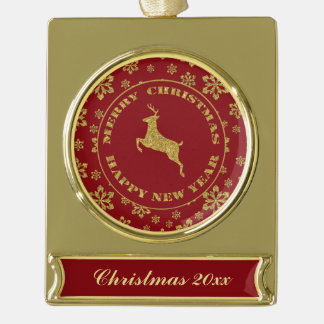 Gold Snowflake Reindeer Keepsake Christmas Gold Plated Banner Ornament