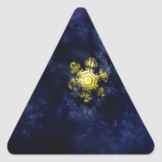 Gold snowflake triangle stickers