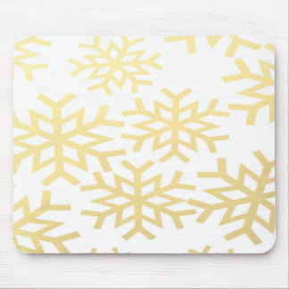 Gold Snowflake Winter Holiday Christmas Pattern Mouse Pad