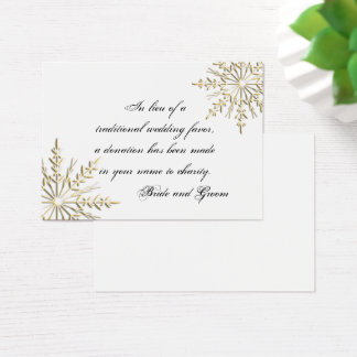 Gold Snowflake Winter Wedding Charity Favor Card