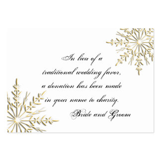 Gold Snowflake Winter Wedding Charity Favor Card Pack Of Chubby Business Cards