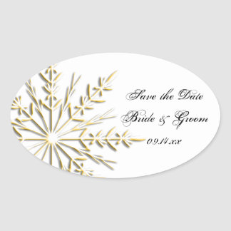 Gold Snowflake Winter Wedding Save the Date Oval Sticker