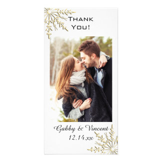 Gold Snowflake Winter Wedding Thank You Photo Card