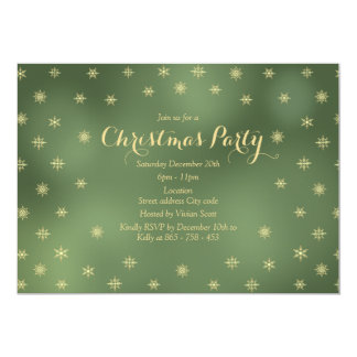 Gold snowflakes and green christmas invitation