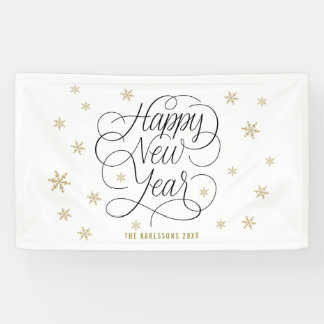 Gold Snowflakes | Happy New Year Banner