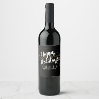 Gold Snowflakes Holiday Wine Label