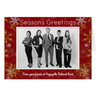 Gold Snowflakes Office Photo Corporate Christmas Card